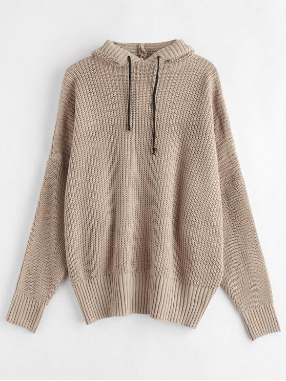 affordable Hooded Oversized Sweater - LIGHT KHAKI ONE SIZE