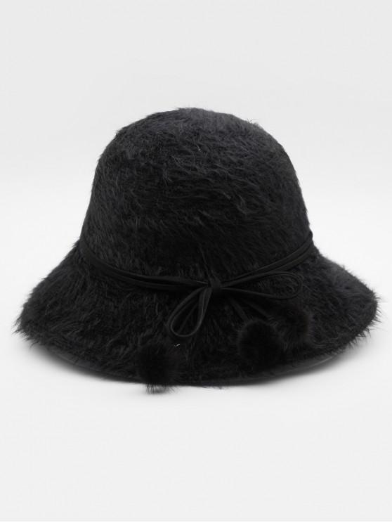 Stylish Bowknot Fuzzy Balls Buckle Hat - Preto