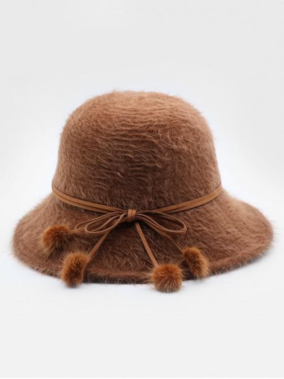 Stylish Bowknot Fuzzy Balls Buckle Hat - Castanha
