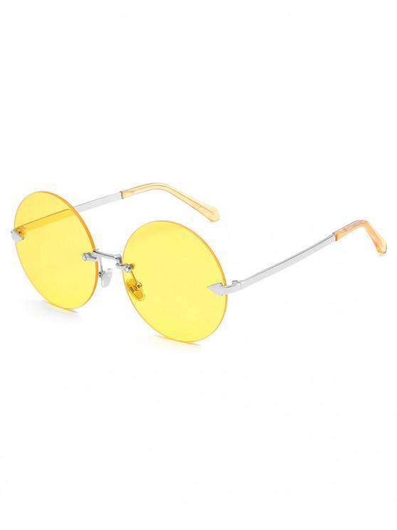 womens Unique Rimless Flat Lens Sunglasses - YELLOW