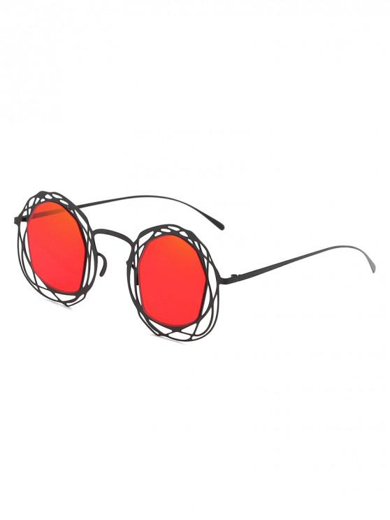 best Statement Hollow Out Frame Novelty Sunglasses - RED