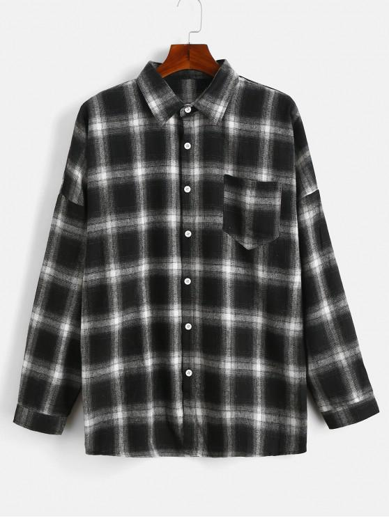 womens Drop Shoulder Sleeves Checked Casual Shirt - ASH GRAY XL