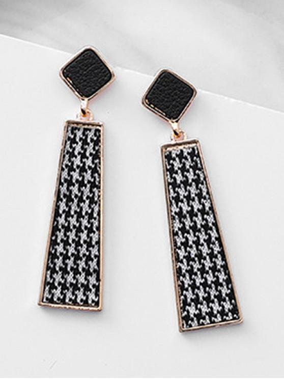 lady Faux Suede Design Ladder Shape Plaid Earrings - BLACK