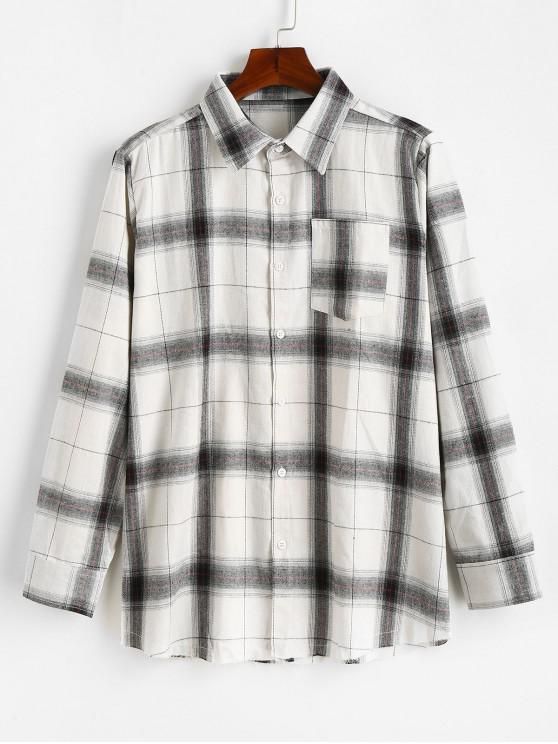 hot Casual Long Sleeves Button Up Plaid Shirt - WHITE XS