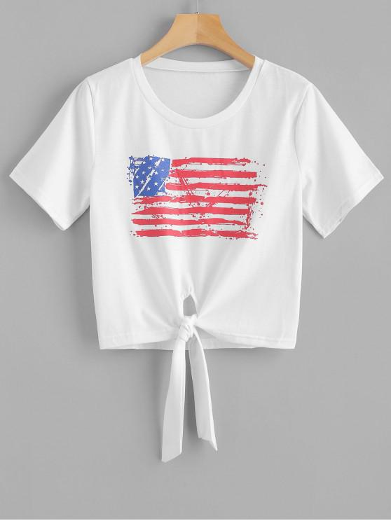afbd093d 23% OFF] 2019 Knotted American Flag Cropped Tee In WHITE | ZAFUL