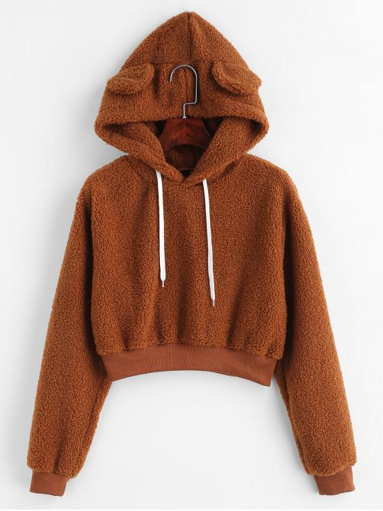ladies Bear Ear Fluffy Crop Hoodie - BROWN XL