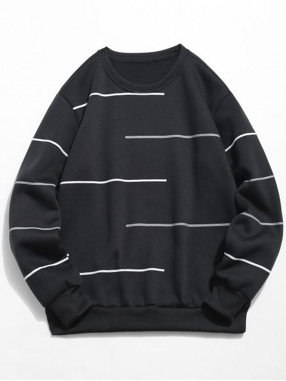 affordable Long Sleeves Lines Print Pullover Sweatshirt - BLACK M