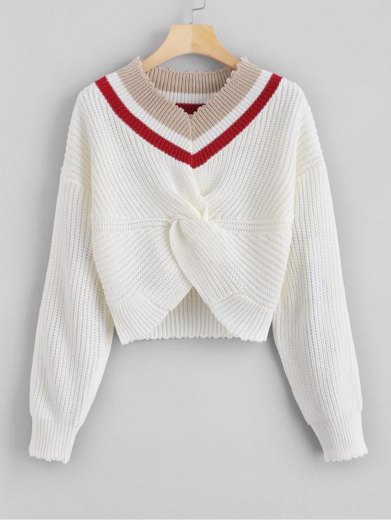 outfits Stripes V Neck Twist Sweater - WHITE ONE SIZE
