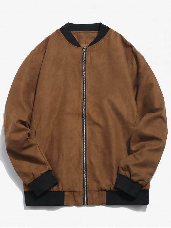 shop Edge Contrast Suede Bomber Jacket - BROWN S
