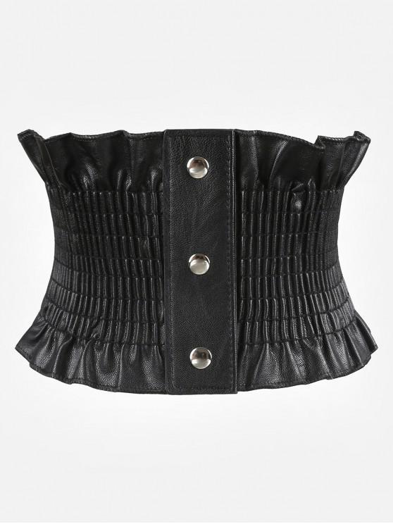 fashion Elegant Wide Corset Elastic Button Belt - BLACK