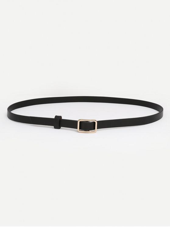 sale Metal Buckle Skinny Dress Belt - BLACK