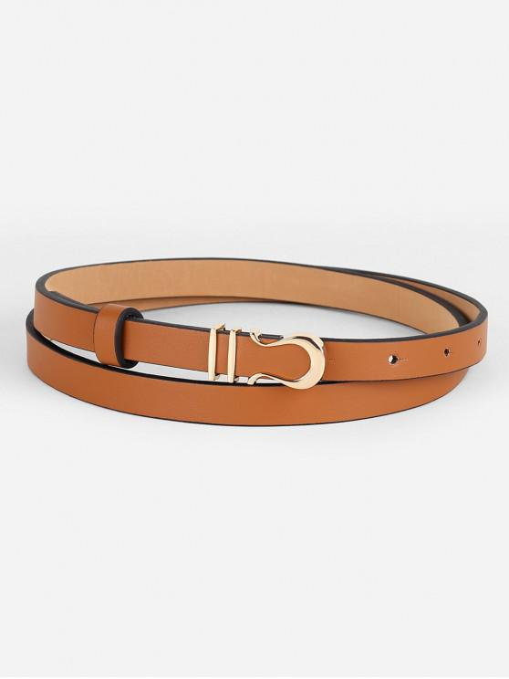 hot Vintage Alloy Buckle Faux Leather Skinny Belt - CAMEL BROWN