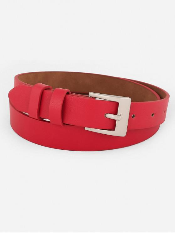 unique Metal Buckle Artificial Leather Skinny Waist Belt - RED