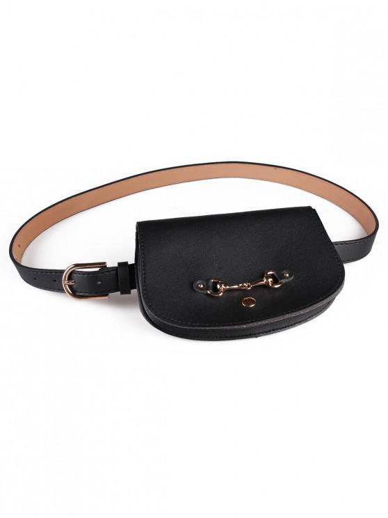 women's Retro Pin Buckle Fanny Pack Belt Bag - BLACK