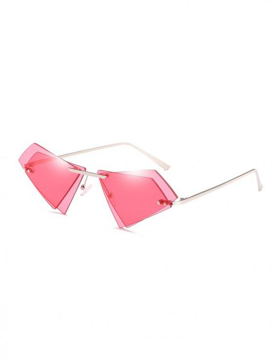 hot Unique Double Lens Rimless Novelty Sunglasses - RED
