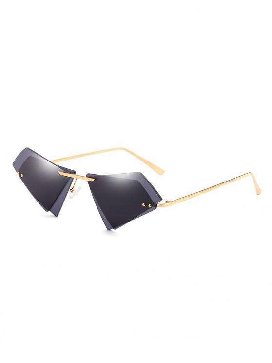 shop Unique Double Lens Rimless Novelty Sunglasses - BLACK