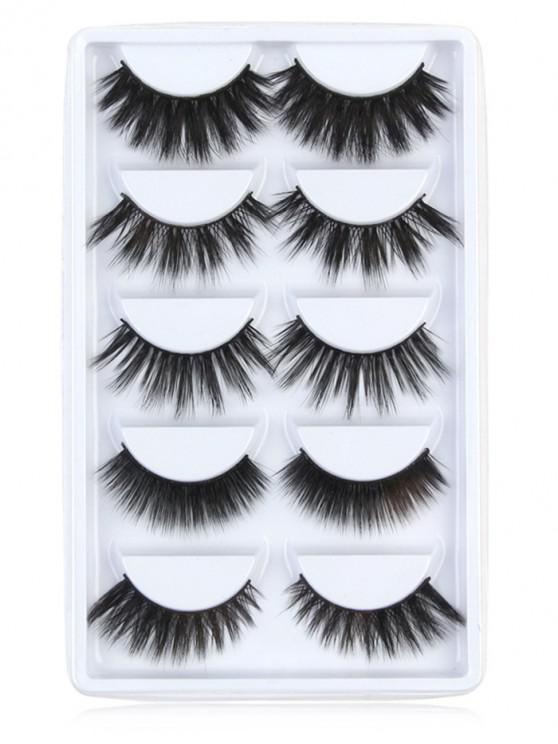 fancy Professional 5 Pairs Cosmetic Natural Homemade False Eyelashes Suit - BLACK