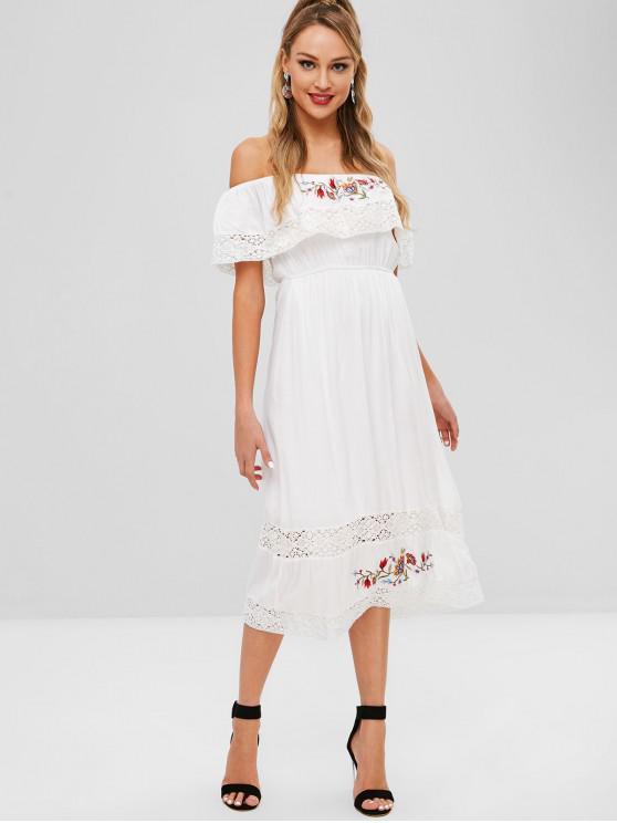 mejor valor Código promocional bastante baratas Vestido bordado con encaje de croché y hombros descubiertos WHITE