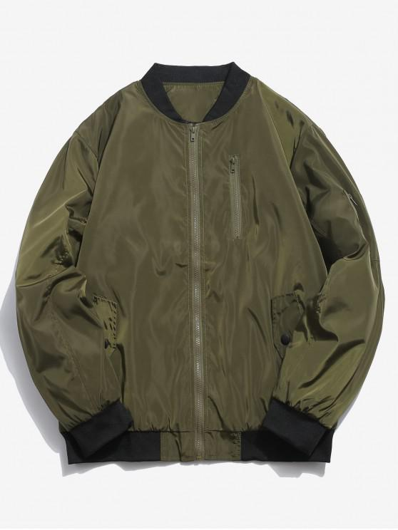 lady Ribbed Edge Padded Bomber Jacket - ARMY GREEN XL