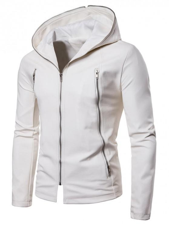 lady Solid Full Zipper Up PU Jacket - WHITE 3XL
