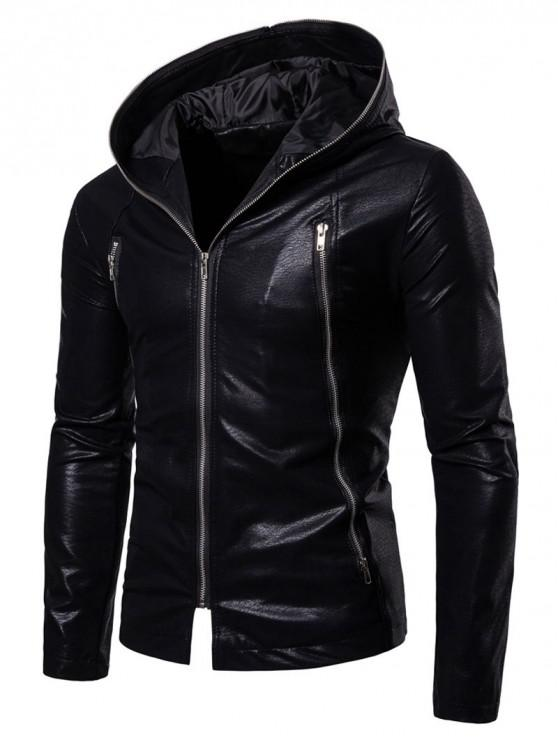 hot Solid Full Zipper Up PU Jacket - BLACK L
