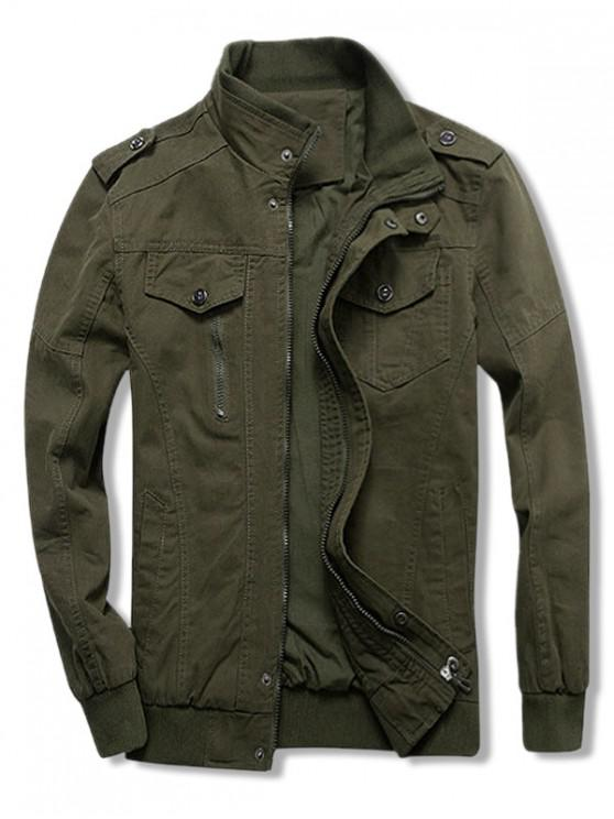 lady Solid Color Zipper Casual Jacket - ARMY GREEN 2XL