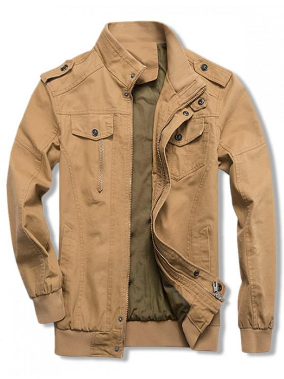 fashion Solid Color Zipper Casual Jacket - KHAKI L