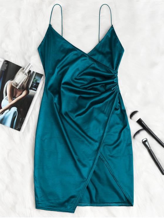 online Cami Draped Crossover Slip Party Dress - PEACOCK BLUE L