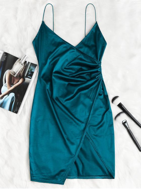 Vestito Con Cinturino Drappeggiato Incrociato - Blu pavone XL