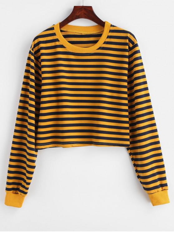 outfits Striped Crop Drop Shoulder Sweatshirt - BEE YELLOW L
