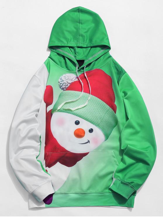 unique Kangaroo Pocket Snowman 3D Print Christmas Hoodie - YELLOW GREEN XL