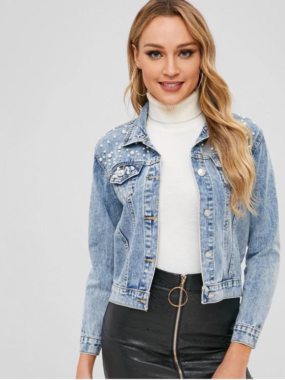 ladies Pearl Denim Jacket - DENIM DARK BLUE M