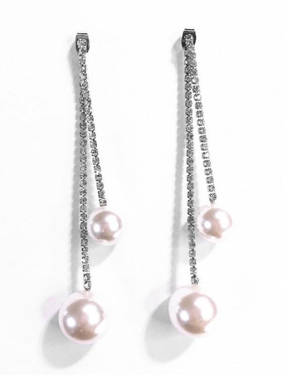 Boucles d'oreilles dormeuses décorées de perles artificielles - Argent