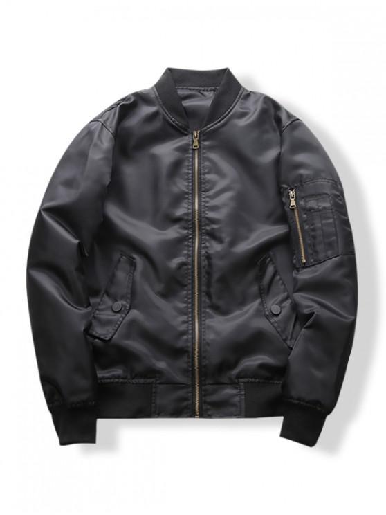 Funda con cremallera bolsillo chaqueta de color sólido Casual - Negro M