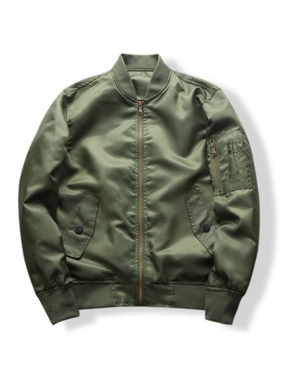 buy Sleeve Zipper Pocket Solid Color Casual Jacket - ARMY GREEN S