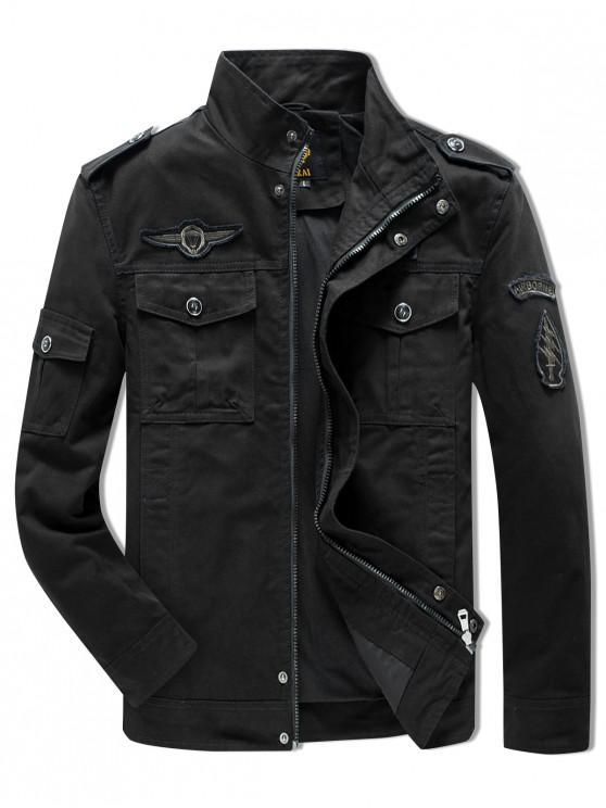 lady Sleeve Appliques Zipper Casual Jacket - BLACK L