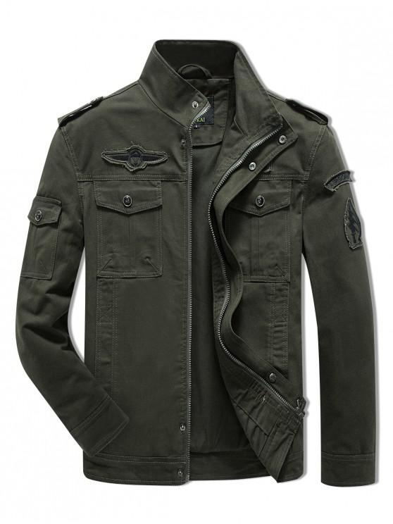 fashion Sleeve Appliques Zipper Casual Jacket - ARMY GREEN S