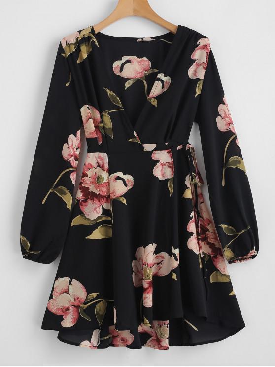 chic Floral Print V Neck Wrap Dress - BLACK L