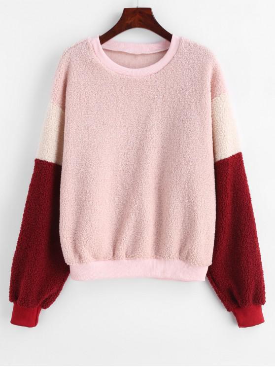fancy Color Block Drop Shoulder Fluffy Sweatshirt - ROSE M
