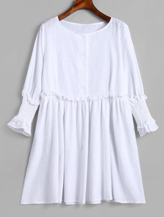 trendy Half Buttoned Frilled Tunic Dress - MILK WHITE XL