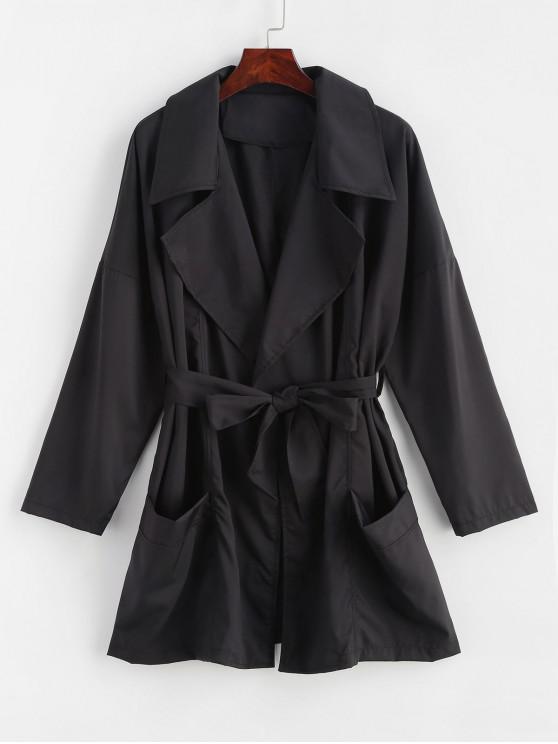 Pockets Wrap Coat   Black L by Zaful