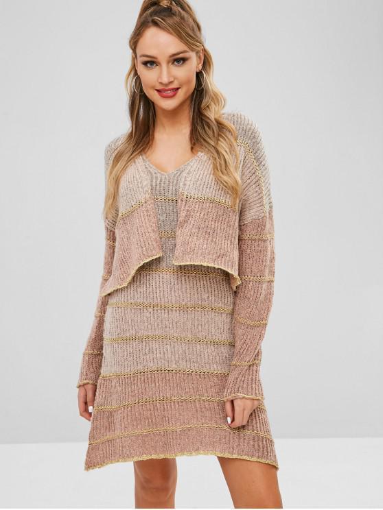 Conjunto de vestido de suéter y chaqueta de punto con parte delantera abierta - Multi Única Talla