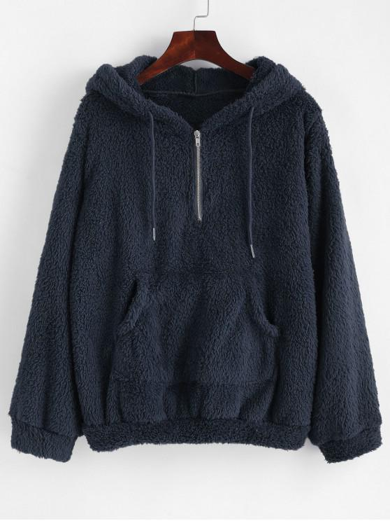 sale Half Zip Kangaroo Pocket Fluffy Hoodie - MIDNIGHT BLUE M