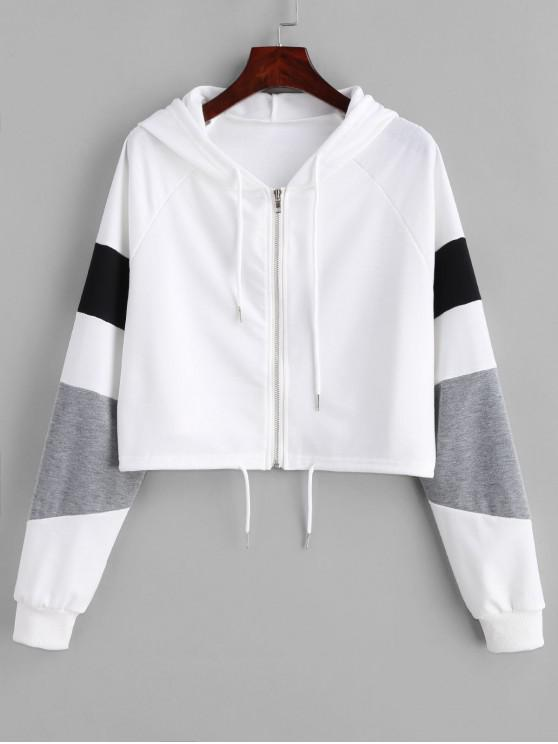 best Zipper Color Block Crop Hoodie - WHITE M