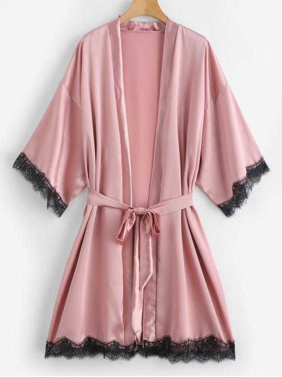 shop Lace Insert Satin Belted Pajama Robe - ORANGE PINK M