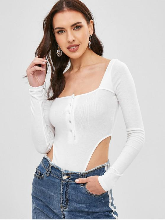 buy Snap Button Square High Cut Bodysuit - WHITE S