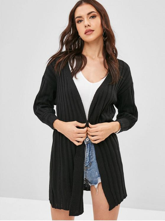 new Blouson Sleeve Ribbed Open Front Long Cardigan - BLACK ONE SIZE