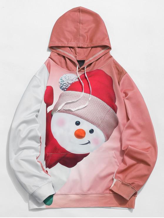 womens Kangaroo Pocket Snowman 3D Print Christmas Hoodie - ORANGE PINK L