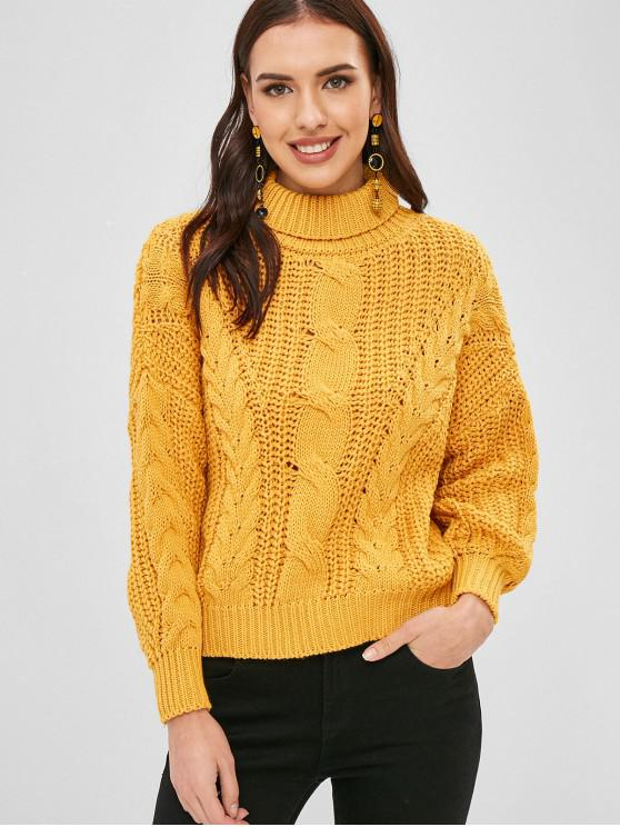 buy Loose Turtleneck Cable Knit Sweater - BEE YELLOW ONE SIZE