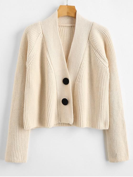 best Raglan Sleeve Plunging Crop Cardigan - WARM WHITE ONE SIZE